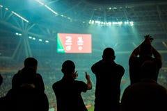 在橄榄球赛的情感爱好者 免版税库存照片