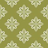 在橄榄绿背景的白花 装饰无缝的模式 库存照片