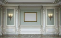 在橄榄色的颜色的lassic内部与木墙板、灯台、框架和适当位置 3d翻译 免版税库存照片