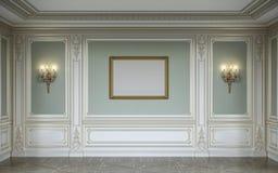 在橄榄色的颜色的lassic内部与木墙板、灯台和框架 3d翻译 免版税库存照片
