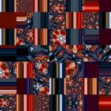 在橙色和深深蓝色的几何方形的抽象背景 库存例证