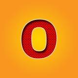 在橙色和黄色颜色字母表的唯一字符O字体 库存图片