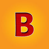 在橙色和黄色颜色的唯一字符B字体 免版税库存照片