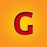 在橙色和黄色颜色的唯一字符G字体 图库摄影