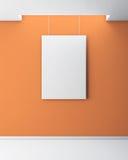 在橙色墙壁上的空白的图片 3d 免版税库存图片