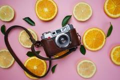 在橙色柠檬的葡萄酒照相机在桃红色Bac留下柑橘样式 图库摄影