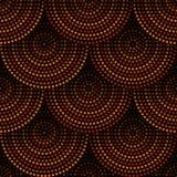 在橙色棕色的澳大利亚原史几何艺术同心圆无缝的样式和黑,传染媒介 库存例证