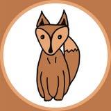 在橙色箱子的动画片狐狸 免版税库存图片