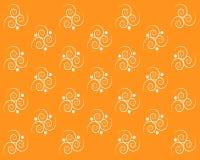在橙色背景的对称白色漩涡 皇族释放例证