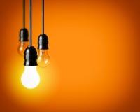 与电灯泡的想法概念 库存图片