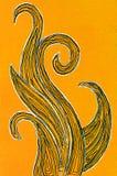 在橙色背景的打旋的波形 库存例证