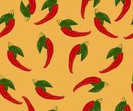 在橙色背景的现实辣椒无缝的样式 库存图片