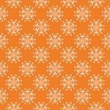 在橙色背景的白色花卉无缝的样式 库存照片