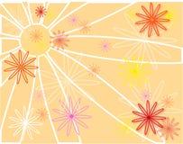 在橙色背景的白色,红色,黄色花传染媒介 库存照片