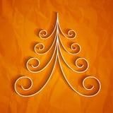 在橙色背景的白色3d纸圣诞树 库存照片