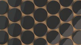 在橙色背景的空白的黑徽章 免版税库存照片