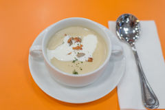 在橙色背景的蘑菇奶油色汤 库存照片