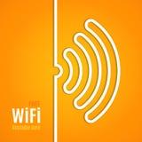 在橙色背景的WiFi象 例证 免版税库存图片
