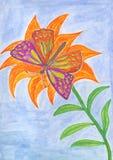 在橙色花的美丽的蝴蝶 向量例证