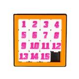 在橙色颜色框架的口袋滑的十五个难题比赛 免版税图库摄影