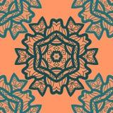 在橙色颜色的东方装饰品样式 导航与风格化花卉几何装饰品的装饰背景 图库摄影