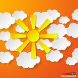 在橙色backg的抽象黄色纸太阳和白皮书云彩 库存图片