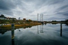 在橡木小河着陆的桥梁,在纽科姆,在圣Michaels附近,玛丽 免版税库存照片