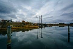 在橡木小河着陆的桥梁,在纽科姆,在圣Michaels附近,玛丽 图库摄影