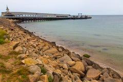 在橡木虚张声势的码头,马萨葡萄园岛,马萨诸塞,美国 免版税库存照片