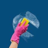 在橡胶手套的手洗涤墙壁擦净剂 库存图片
