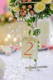 在欢乐婚礼桌上的卡片 免版税图库摄影