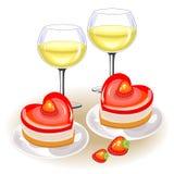 在欢乐桌上,两杯白酒 以心脏的形式浪漫蛋糕 适用于恋人在华伦泰s天 库存例证
