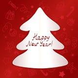 在欢乐背景的圣诞树形状 库存图片
