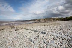 在欣克利点萨默塞特附近的Lilstock海滩 免版税库存图片