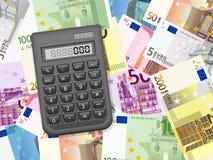 在欧元背景的计算器 免版税库存图片