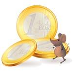 在欧洲硬币附近的小的鼠标 库存例证