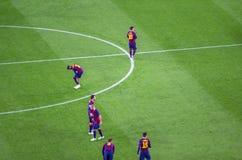 在欧洲联赛冠军杯比赛前的巴塞罗那在Barcelo之间 图库摄影