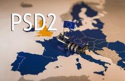 在欧盟地图, PSD2的挂锁隐喻 免版税库存图片