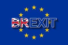 在欧盟旗子的BREXIT - UK& x27;从欧盟的s撤退 向量例证