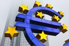 在欧洲中央银行的欧洲符号 库存照片