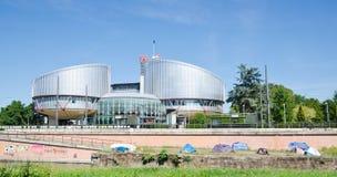 在欧洲人权法院之外的帐篷 库存照片