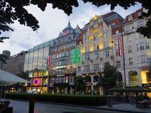 在欧洲光的商店地区 免版税库存照片