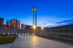 在欧洲团结正方形的三个十字架纪念碑 图库摄影