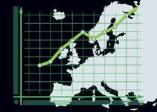 在欧洲地图背景的成长曲线图图 免版税图库摄影
