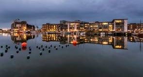 在欧登塞港口,丹麦的城市复合体 免版税库存图片