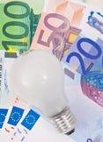 在欧洲笔记的电灯泡 库存图片