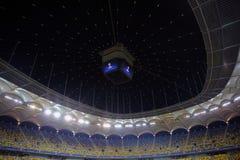 在欧洲联赛冠军杯夜期间,橄榄球场 库存照片