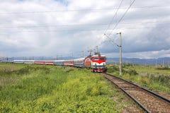 在欧洲风景的火车 库存图片