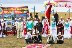 在歌曲Kul湖的节日在吉尔吉斯斯坦 免版税图库摄影