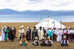 在歌曲Kul湖的节日在吉尔吉斯斯坦 免版税库存图片